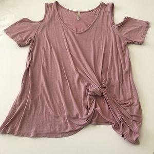Pink shoulder cut out blouse
